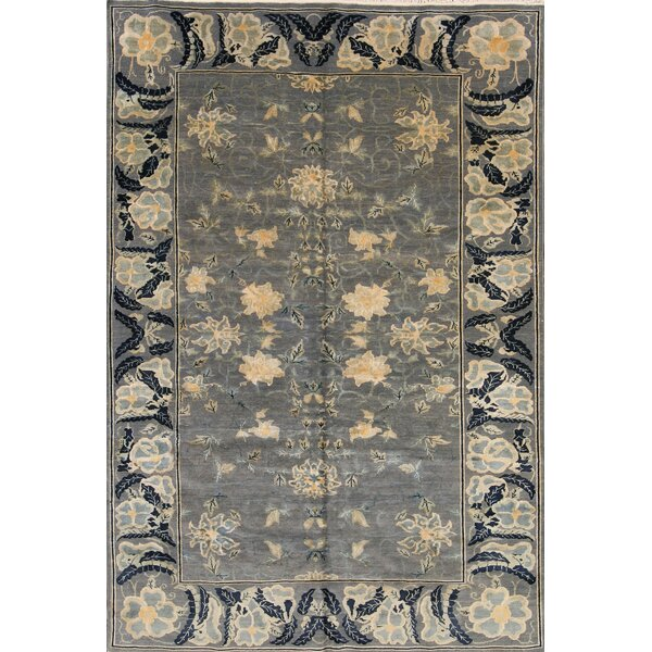 One-of-a-Kind Bathurst Agra Egypt Oriental Hand-Knotted Wool Gray/Charcoal Area Rug by Canora Grey