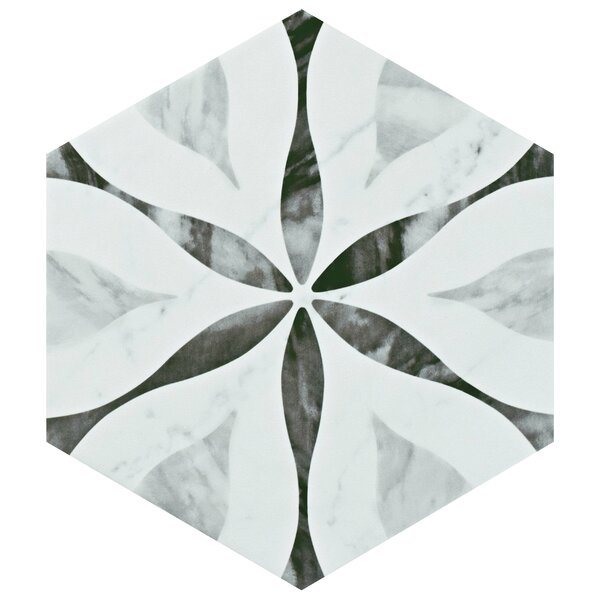 Karra Hexagon 7 X 8 Porcelain Field Tile In White/black By Elitetile.