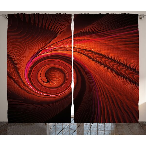 Couey Spires Spooky Spiral Form in Darkness with Digital Effects Perplexed Dreamy Place Image Graphic Print & Text Semi-Sheer Rod Pocket Curtain Panels (Set of 2) by Latitude Run