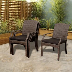 Bridgepointe Stacking Patio Dining Chair with Cushion (Set of 4) by Rosecliff Heights