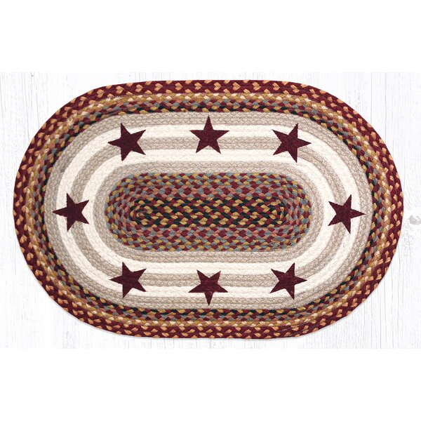 Burgundy Stars Printed Area Rug by Earth Rugs
