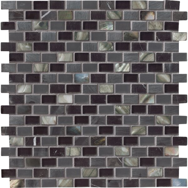 Midnight Pearl Glass/Stone Mosaic Tile in Black by MSI