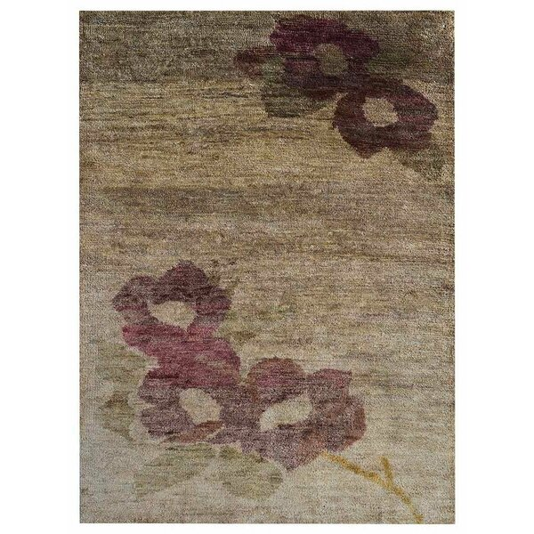 Tullos Floral Hand-Knotted Beige Indoor/Outdoor Area Rug by Red Barrel Studio