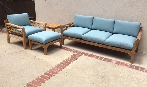 Lorenzo 4 Piece Teak Sunbrella Sofa Set with Cushions by Longshore Tides