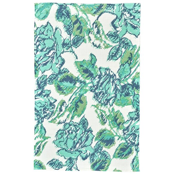 Whitely Hand-Woven Lime/Blue Area Rug by Ophelia & Co.