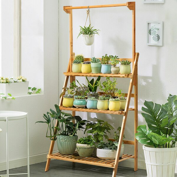 Roxanne 3 Tier Bamboo Ladder Bookcase by Bay Isle Home