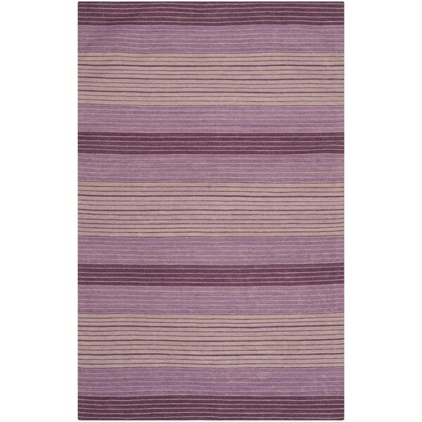 Jefferson Hand Woven Cotton Purple Area Rug by Wrought Studio