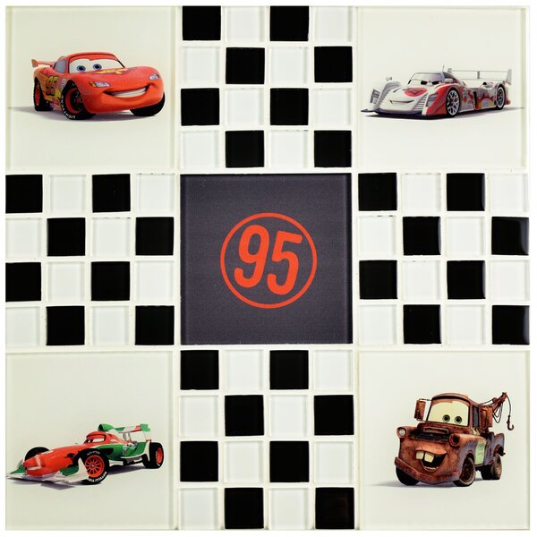 Disney Cars 11.75 x 11.75 Glass Mosaic Tile in Black/ White by EliteTile