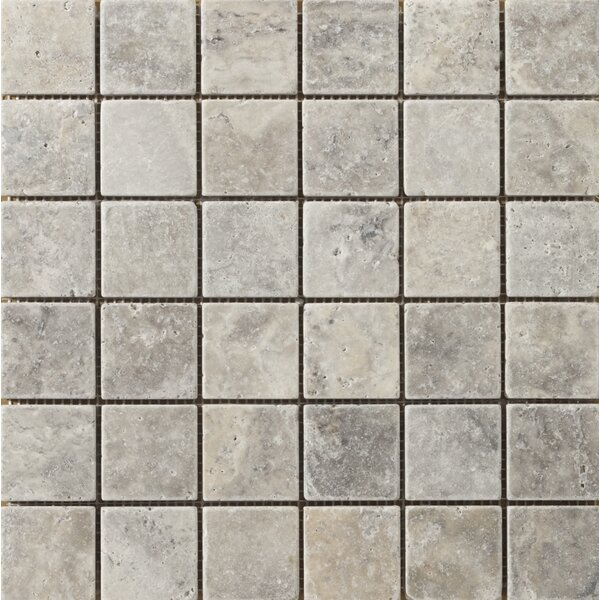 Trav Anc Tumbled 2 x 2 Travertine Mosaic Tile in Silver by Emser Tile