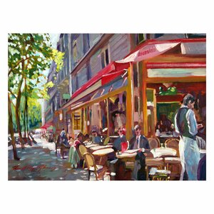 'Paris Cafe' by David Lloyd Glover Framed Painting Print on Wrapped Canvas by Trademark Fine Art