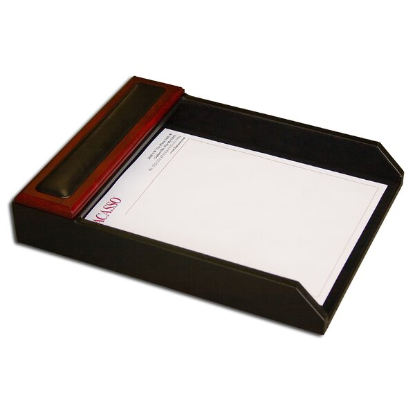 8000 Series Rosewood and Leather Front-Load Letter Tray by Dacasso