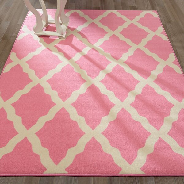Staunton Contemporary Pink Morroccan Trellis Area Rug by Charlton Home