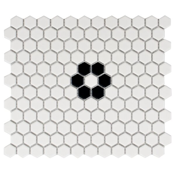 Retro 10.25L x 11.75W Porcelain  Mosaic Tile in Matte White/Black by EliteTile