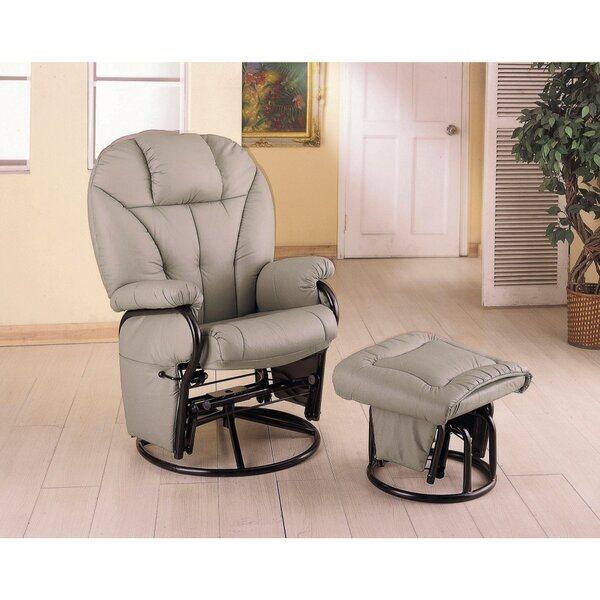Tummala Leather Manual Glider Recliner with Ottoman [Red Barrel Studio]