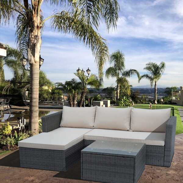 Marcela 3 Piece Rattan Sectional Seating Group with Cushions by Highland Dunes