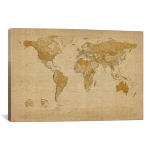 'Antique World Map II' by Michael Tompsett Graphic Art on Canvas by iCanvas