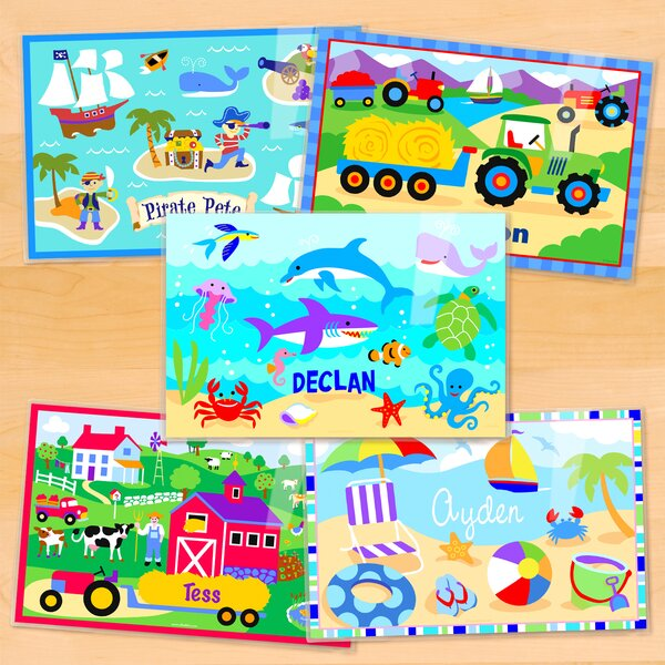 Summertime 5 Piece Boys Personalized Placemat Set by Olive Kids