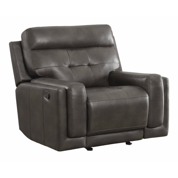 Wilshire Perfectly Designed Leather Upholstered Glider Recliner by Canora Grey