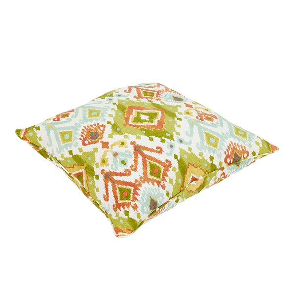 Fealty Ikat Piped Outdoor Floor Pillow by World Menagerie