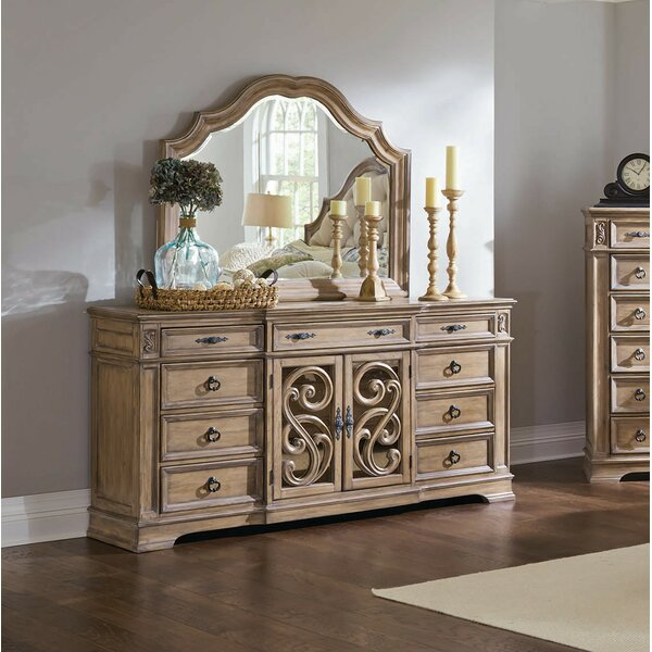 Antonie 9 Drawer Combo Dresser with Mirror by August Grove