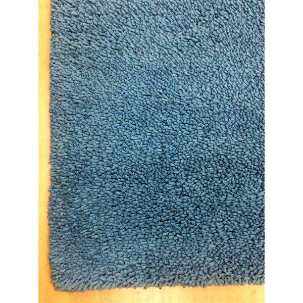 Shag Eyeball Woolen Petrol Hand Knotted Blue Area Rug by Eastern Weavers