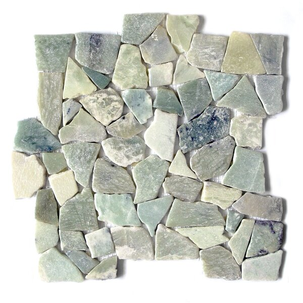 Jade Flat Random Sized Marble Mosaic Tile in Green by FuStone