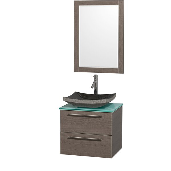 Amare 24 Single Gray Oak Bathroom Vanity Set with Mirror by Wyndham Collection