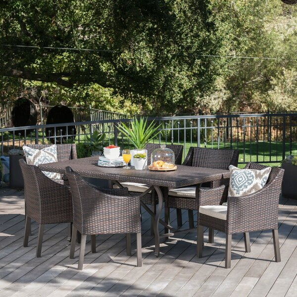 Tamekia Outdoor Wicker Rectangular 5 Piece Dining Set with Cushions by Darby Home Co