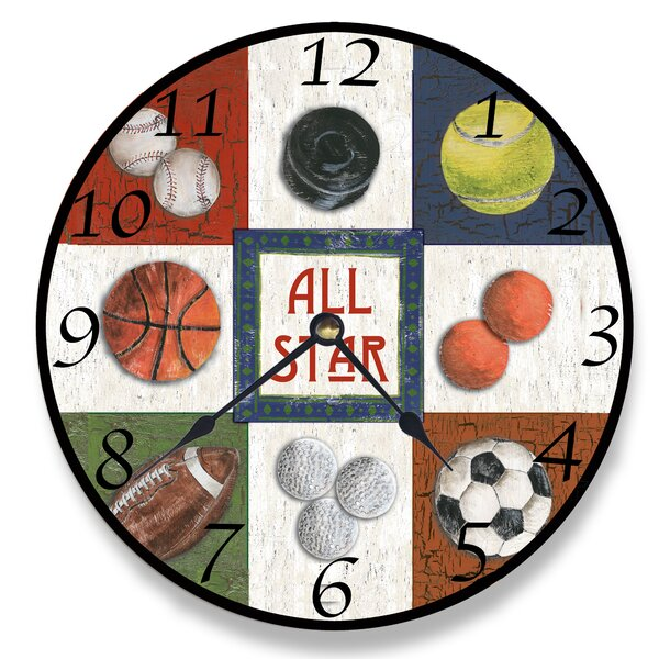 12 All Star Sports Vanity Clock by Stupell Industries