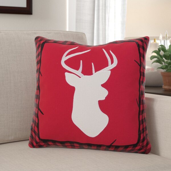 Westphal Buffalo Check Deer Throw Pillow by Millwood Pines