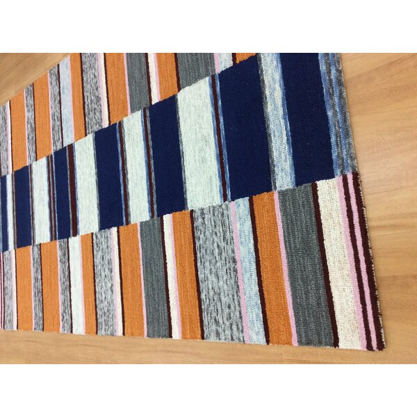 Hand-Woven Blue/Orange Area Rug by Eastern Weavers