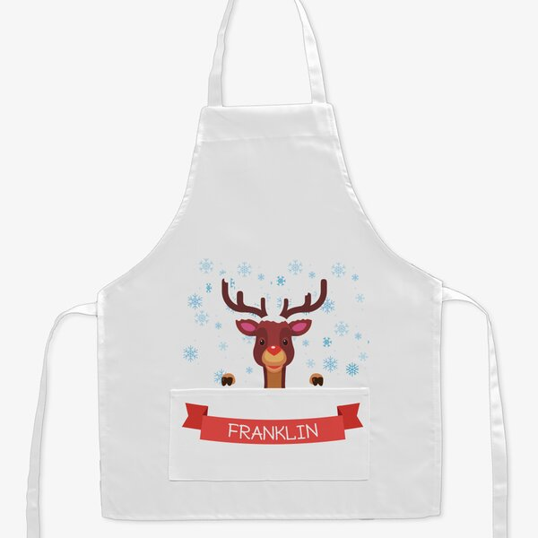 Nose Reindeer Custom Kid Apron by Monogramonline Inc.