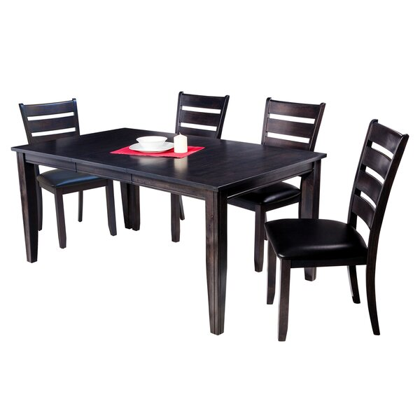 Haan Traditional 5 Piece Solid Wood Dining Set with Ladder Back Chair by Red Barrel Studio