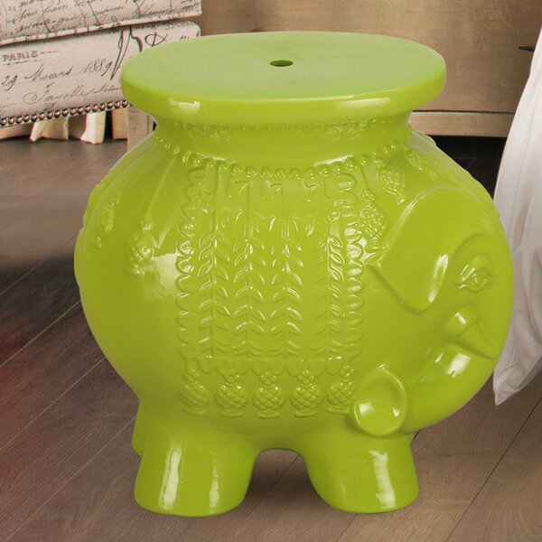 Lucky Elephant Ceramic Garden Stool by Adeco Trading