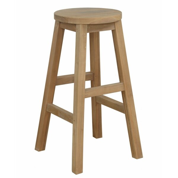 Katy 24-inch Teak Patio Bar Stool by Millwood Pines Millwood Pines
