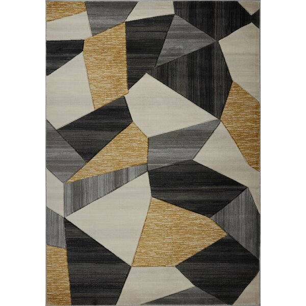 Ramage Modern Cream/Gold/Black Area Rug by Orren Ellis
