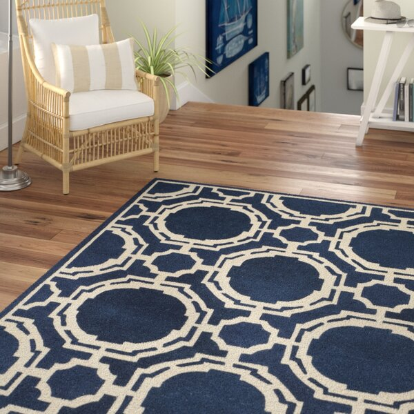 Moraine Hand-Tufted Dark Blue/Ivory Area Rug by Beachcrest Home