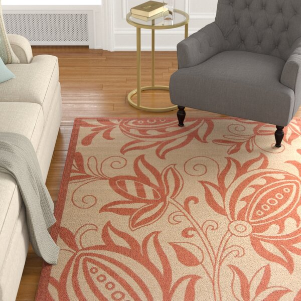 Octavius Natural / Red Outdoor Area Rug by Charlton Home