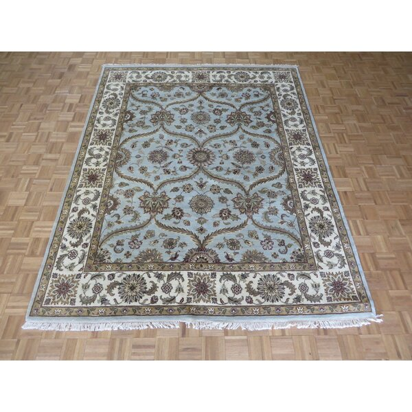 One-of-a-Kind Rhyne Peshawar Oushak Hand-Knotted Wool Sky Blue Area Rug by Astoria Grand