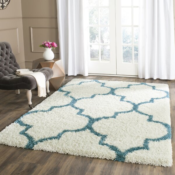 Given Kids Off-White And Teal Shag Area Rug by Viv + Rae