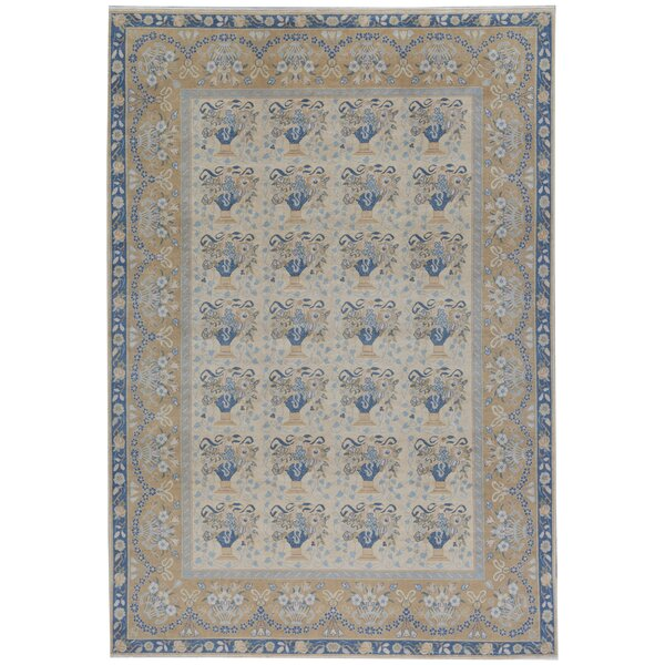 One-of-a-Kind Turkish Hand-Knotted Blue/Beige 9'5 x 13'8 Wool Area Rug
