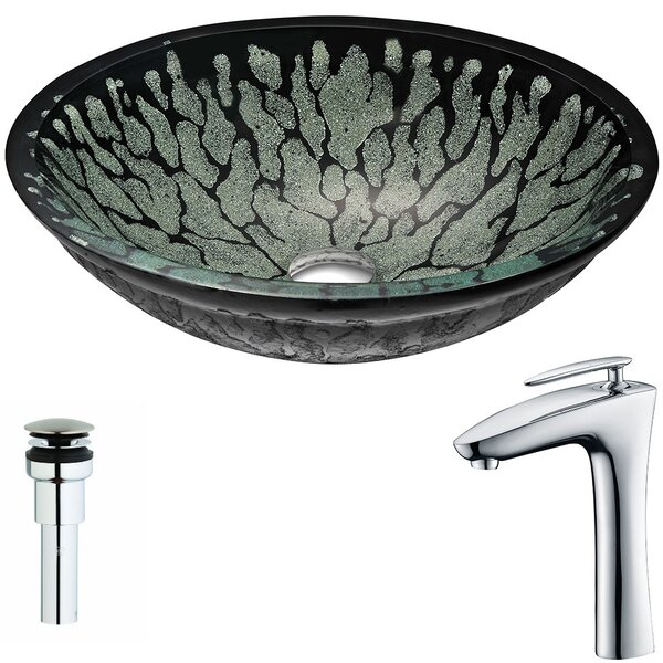 Bravo Glass Circular Vessel Bathroom Sink with Faucet by ANZZI