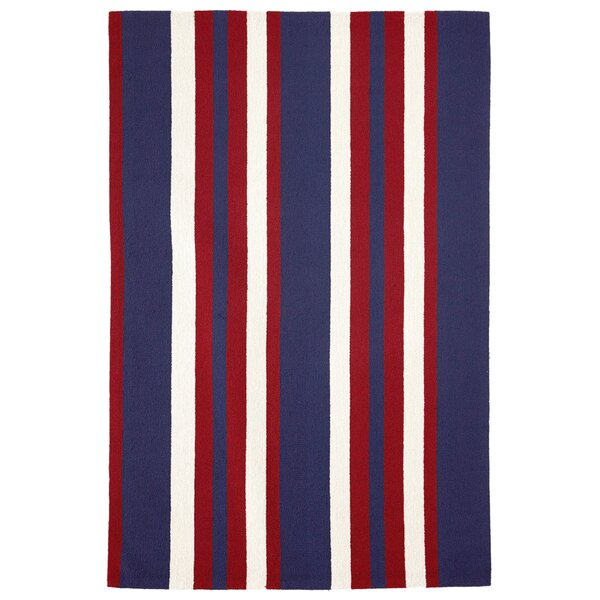 Cranford Nautical Stripe Hand-Tufted Red/Blue Indoor/Outdoor Area Rug by Breakwater Bay