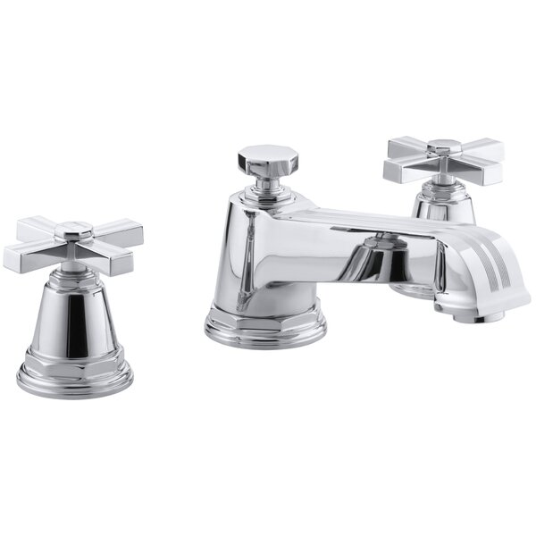 Pinstripe Deck-Mount Bath Faucet Trim for High-Flow Valve with Cross Handles, Valve Not Included by Kohler