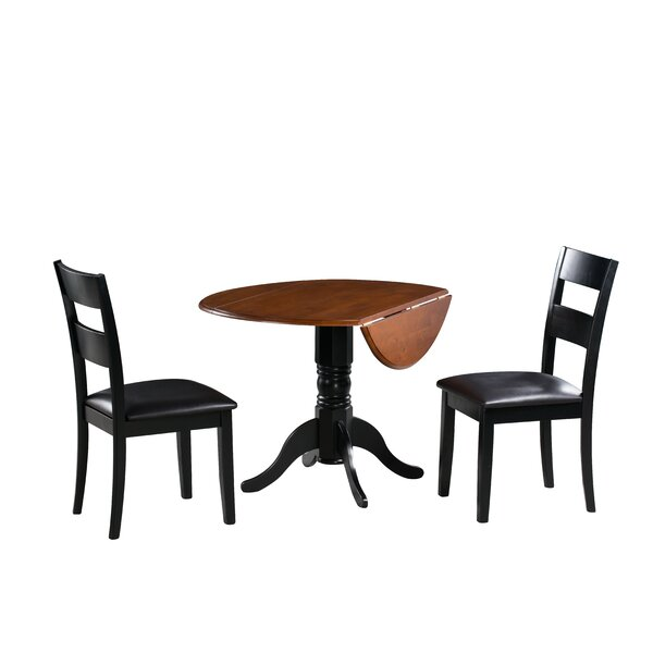 Adler 3 Piece Drop Leaf Solid Wood Dining Set by August Grove