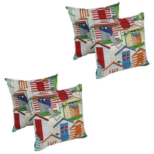 Vanderveldt Beach Huts Cabana Indoor/Outdoor Throw Pillow (Set of 4)
