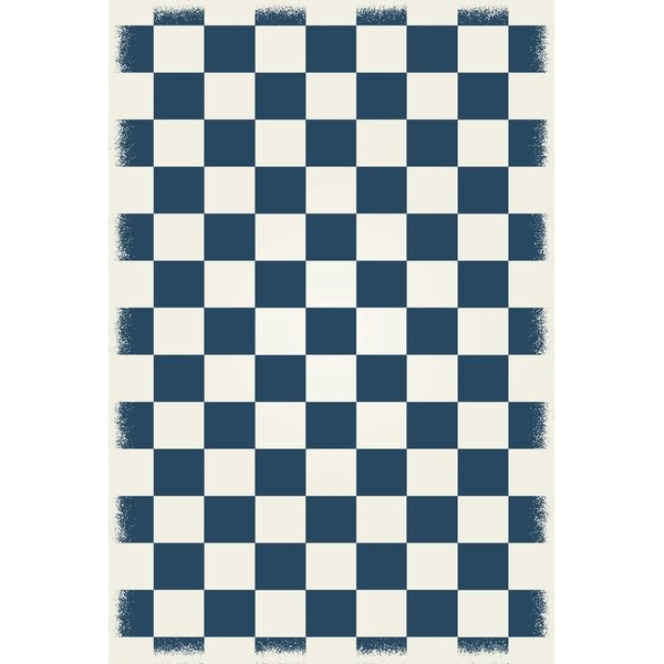 Case Checker Blue/White Indoor/Outdoor Area Rug by Winston Porter