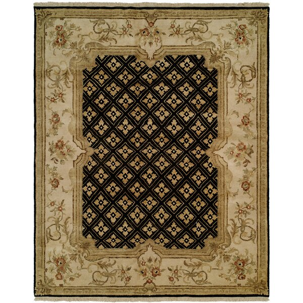 Marvin Hand Knotted Wool Black/Ivory Area Rug by Astoria Grand