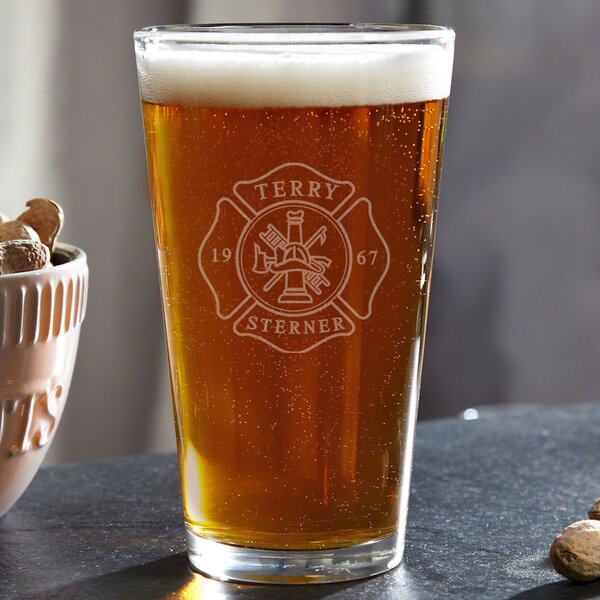 Firefighter Personalized 16 oz. Glass Pint Glass b