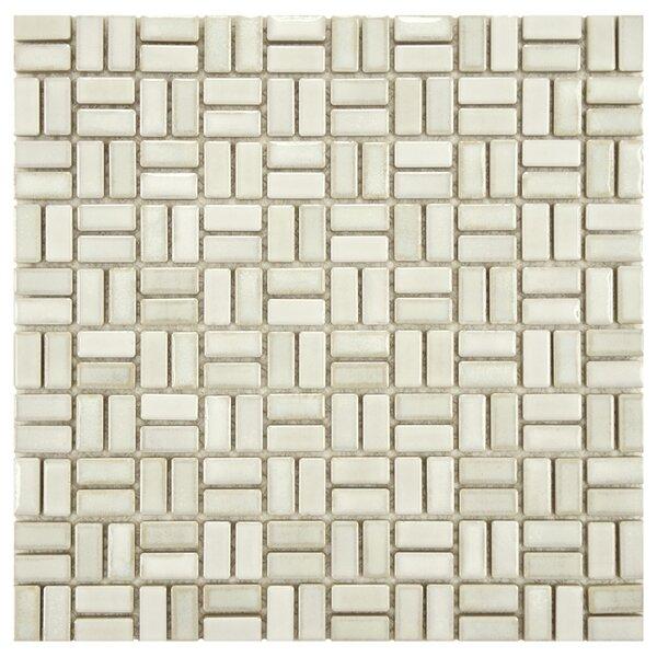 Arcadia Weave 0.5 x 1 Porcelain Mosaic Tile in Glacier by EliteTile